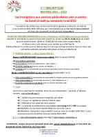 1ère inscription INFORMATIONS 2021-2022